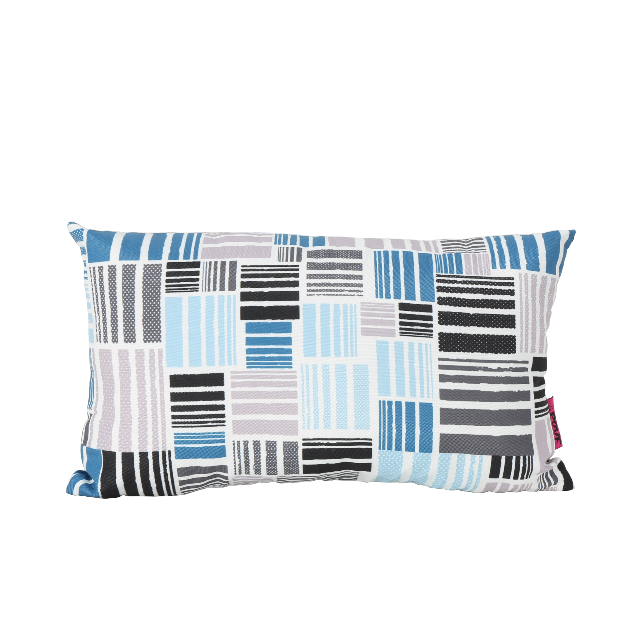 Hedvig Indoor Water Resistant Rectangular Throw Pillow, Patchwork Grey and Blue Abstract... by GDF Studio