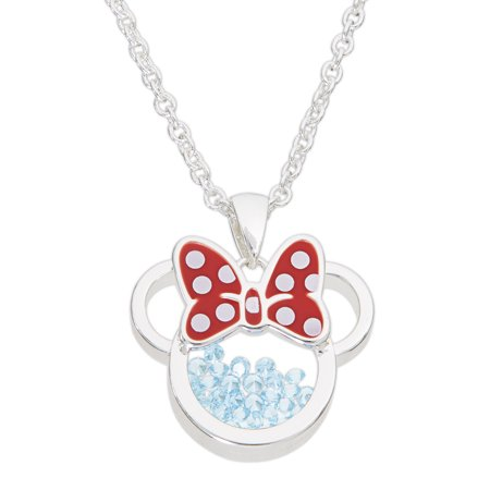 Minnie Mouse Necklace (Minnie Mouse March Birthstone Silver Plated Shaker Pendant Necklace, 18+2)