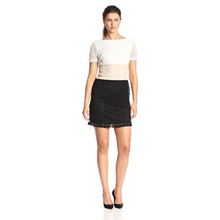 Sandra Darren - Sandra Darren Women s Short Sleeve Lace Crochet Color Block  Dress 6e6cddaa51