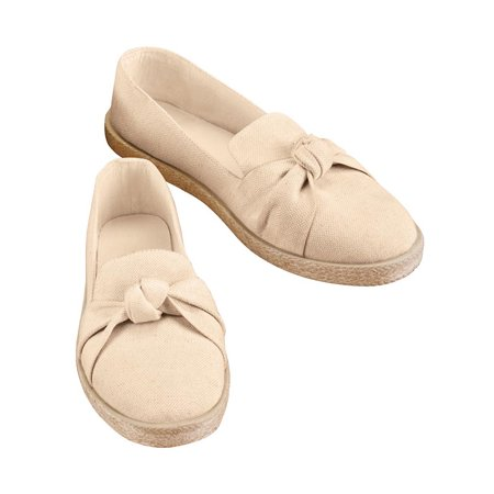 Knot Front Rope Trim Slip-On Shoes with Comfortable Padded Insoles, Cute and Casual Style Comfortable Casual Shoes