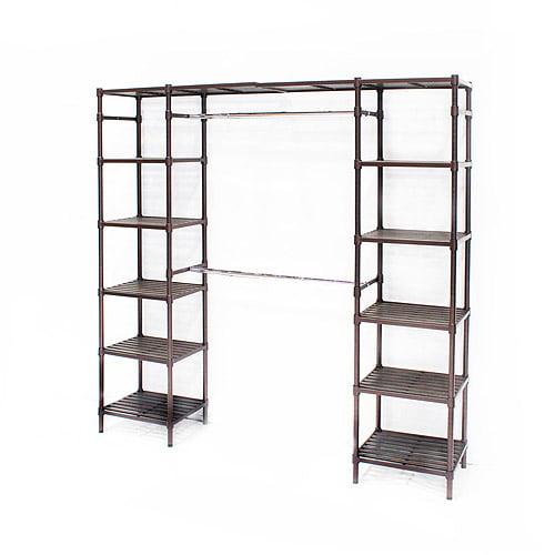 """Seville Classics 74""""-202""""W Expandable Closet Organizer System, Resin Slat"""