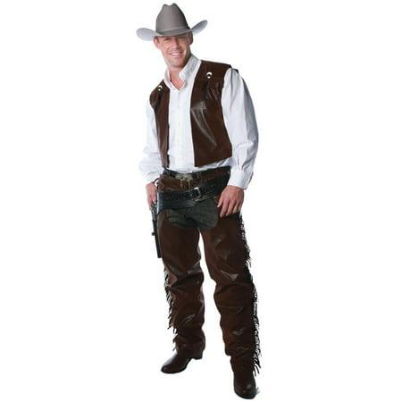 Biker Chaps Costume (Men's Western Cowboy Chaps And Vest Costume Set Teen)