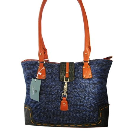 Aryana Junior Womens Blue Orange Double Shoulder Strap Chic Summer Handbag Purse