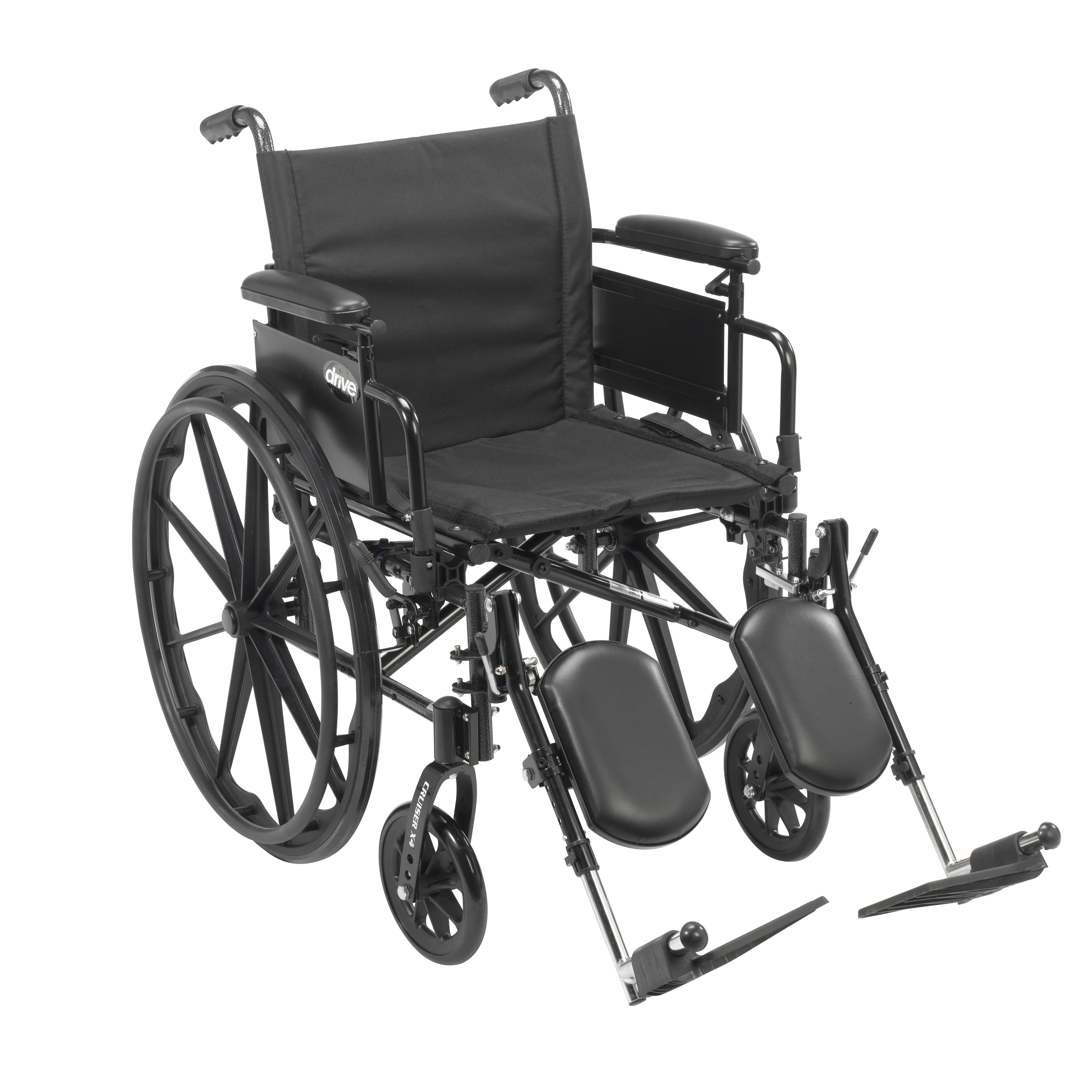 """Cruiser X4 Lightweight Dual Axle Wheelchair with Adjustable Detachable Arms, Desk Arms, Elevating Leg Rests, 18"""" Seat"""