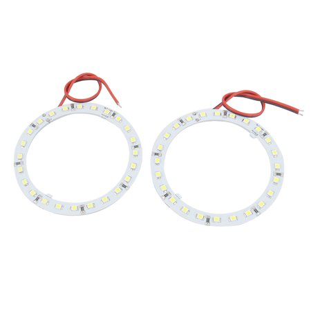 Unique Bargains 2 Pcs 80mm White 1210 24 SMD LEDs Angel Eyes Headlight Light 12V for Car Angel Eyes Car