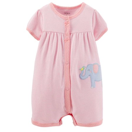 Carters Infant Girls Pink Stripe Elephant Romper Baby Bodysuit Outfit