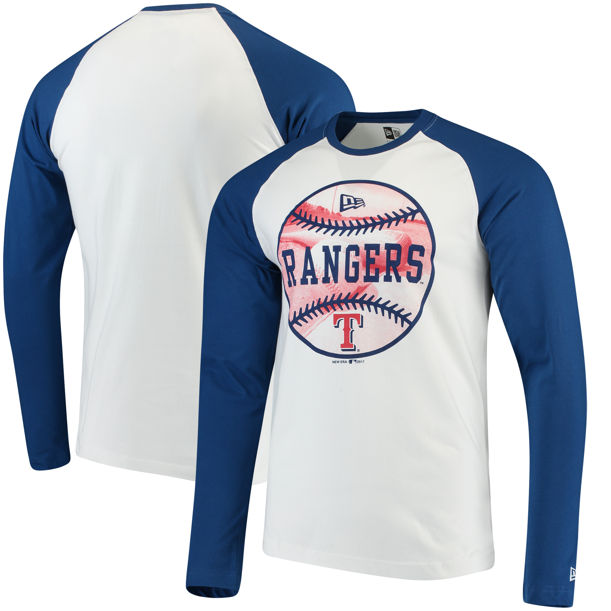Texas Rangers New Era Raglan Long Sleeve T-Shirt - White/Royal