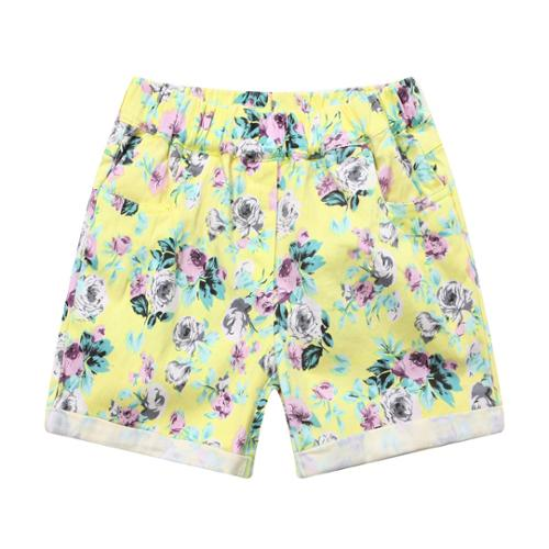 Richie House Little Girls Yellow All Over Floral Print Shorts 2