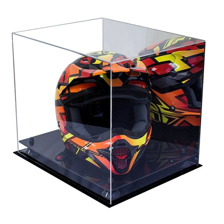 Deluxe Acrylic Motorcycle Motocross or Nascar Racing Helmet Display Case with Black Risers and Mirror (A024-BR) - Master Chief Deluxe Helmet