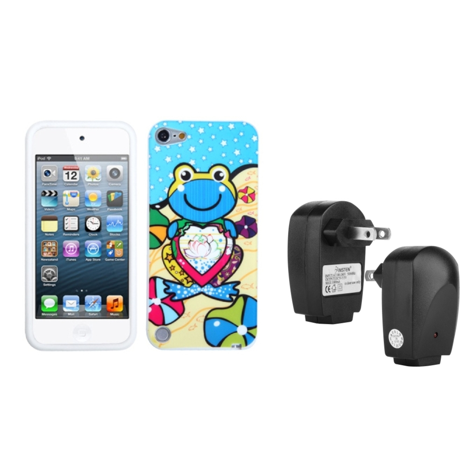 Insten Blue Lotus Frog Skin Cover Case For iPod Touch 6 6G 5 5G + USB Travel Charger