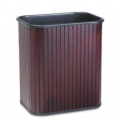 "Carver Rectangular Waste Basket - 4.25 Gal Capacity - Rectangular - 16"" Height X 14.5"" Width X 10"" Depth - Wood - Mahogany (09853)"