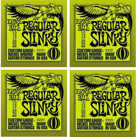 - Ernie Ball Regular Slinky Electric Guitar Strings, Nickel Wound, Lot/4, P02221^4