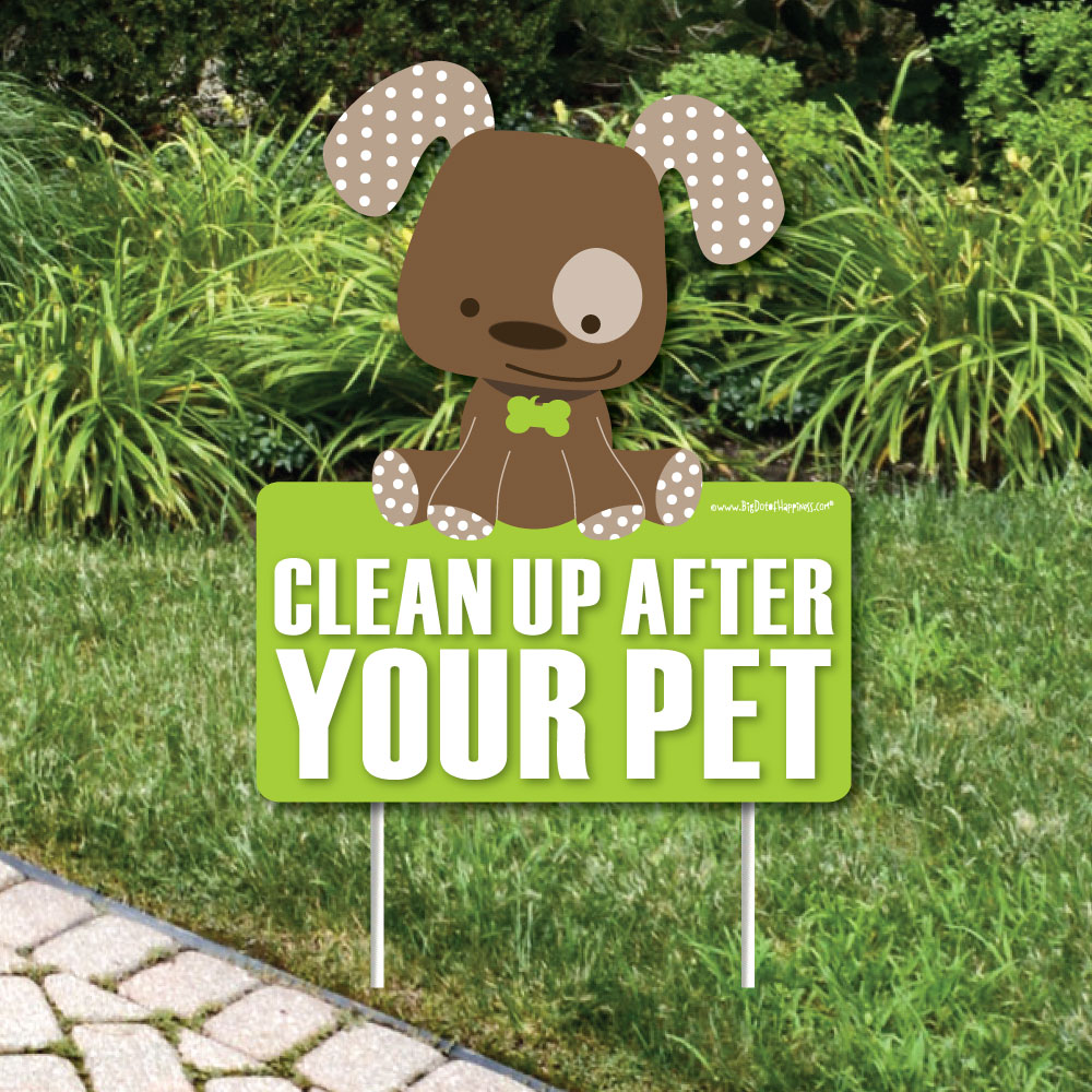 Clean Up After Your Pet Lawn Sign   No Dog Poop Sign   Dog Signs For
