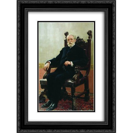 Ilya Repin 2X Matted 18X24 Black Ornate Framed Art Print Portrait Of The Chairman Of The Azov Don Commercial Bank In St  Petersburg  A B  Nenttsel