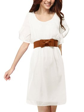 Product Image Women Casual Pullover Short Dress w Belt White (Size XL   16) b0bab1f07