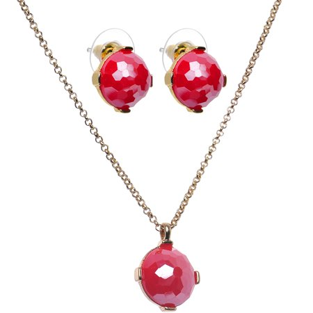Red Dome Stud Earrings Necklace Set