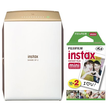 Fujifilm INSTAX SHARE SP-2 Smart Phone Printer Gold with 20 Instant Films (Smart Phone Compatible Printer)