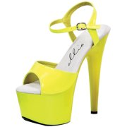 Bright and Bold Neon Yellow Sandals with 7 Inch Heels Women's Platform Heels
