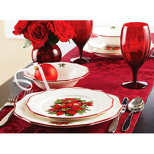 Better Homes and Gardens Christmas Poinsettia 12-Piece Dinnerware Set