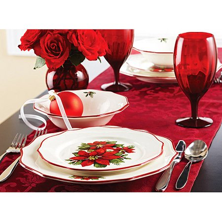 Better homes and gardens christmas poinsettia 12 piece - Better homes and gardens dish sets ...