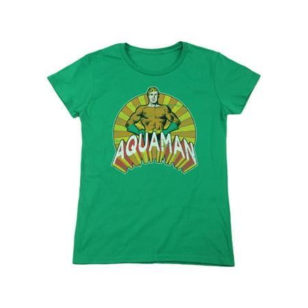 dc comics aquaman classic 1970s tv version in sundistressed women's t-shirt tee - 1970s Women