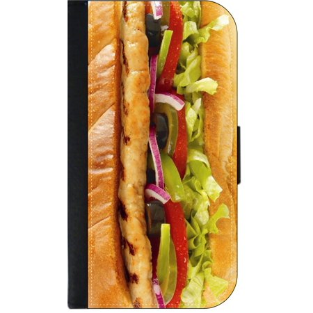 Chicken Hero Sandwhich - Wallet Style Cell Phone Case with 2 Card Slots and a Flip Cover Compatible with the Apple iPhone 7 Plus and 8 Plus Universal