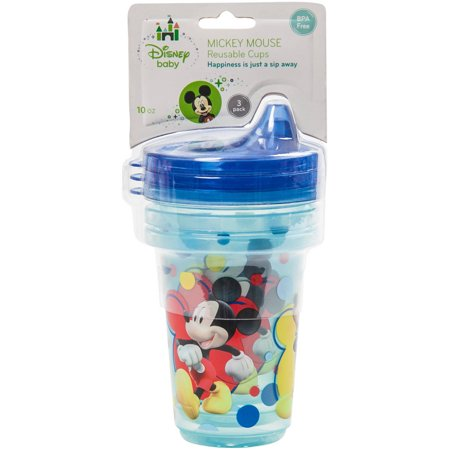 Disney Mickey Mouse Stackable and Reusable Cups, Blue, 10-Ounce, 3 Piece](Mickey Mouse Plastic Cups)