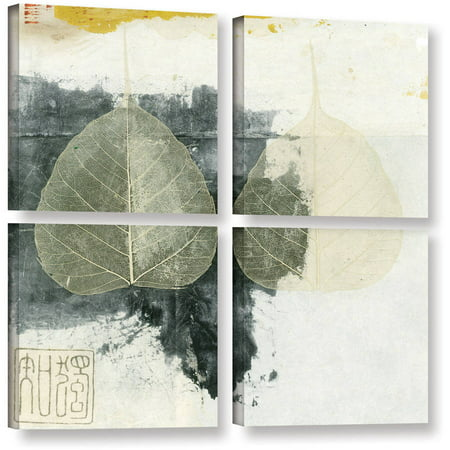 Artwall Elena Ray   Wabi Sabi Bodhi Leaf Collage 4   4 Piece Gallery Wrapped Canvas Square Set
