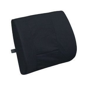 (Black) Lumbar Cushion Pillow Orthopedic Wedge Back Support Synthethic LEATHER