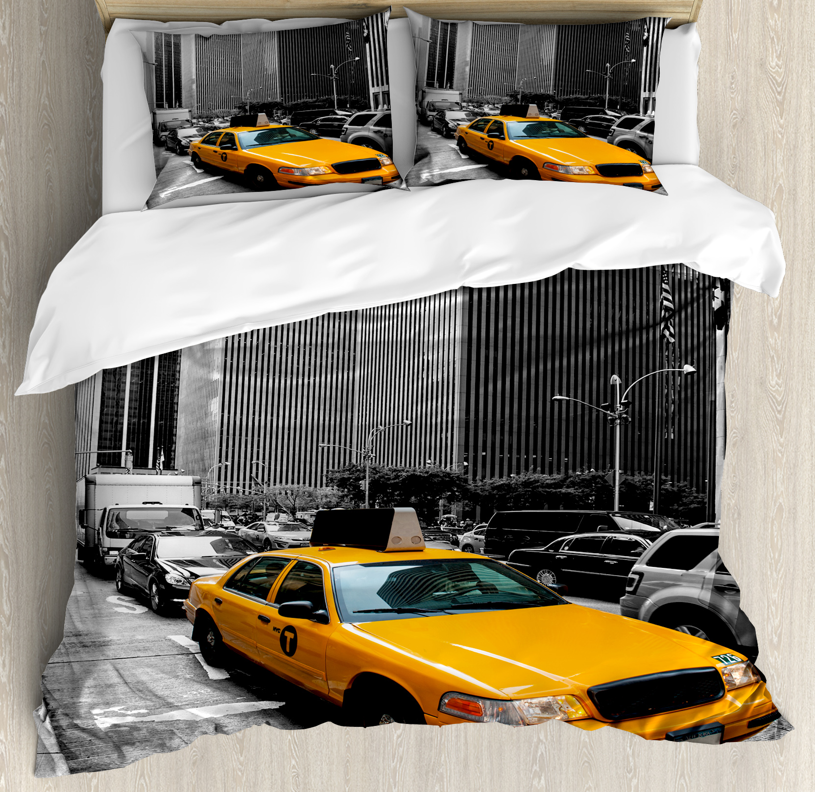 City King Size Duvet Cover Set, Yellow Cab in New York City Touristic Attractions Traffic Road Photography, Decorative 3 Piece Bedding Set with 2 Pillow Shams, Marigold Grey Black, by Ambesonne
