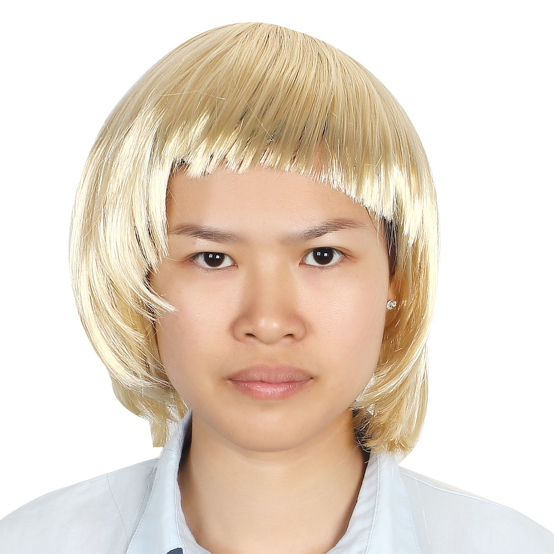 Ladies Woman Short Cut Straight Hairpiece Flat Bangs Hair Play Costume Full Wig Party