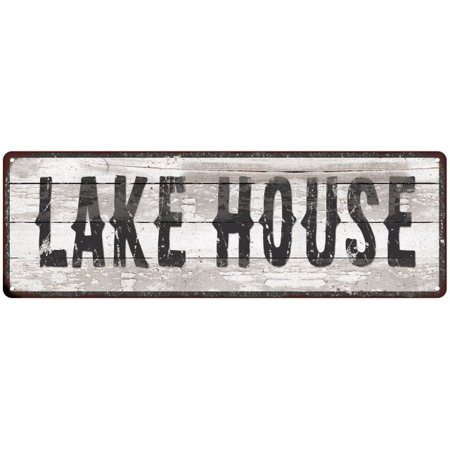 LAKE HOUSE Ship Lap Look Distressed Metal Sign 6x18 Country Wall Décor .025 Thick Gloss G61800103