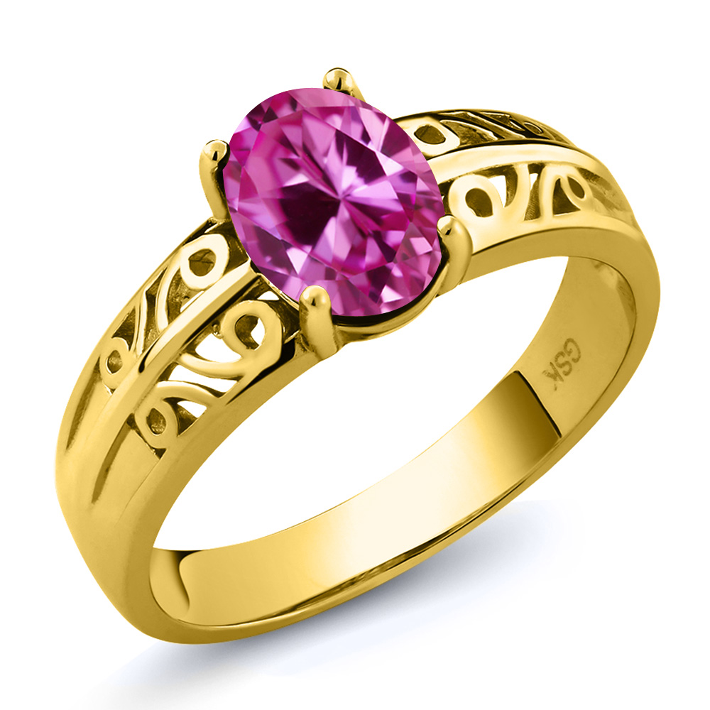 1.65 Ct Oval Pink Created Sapphire 18K Yellow Gold Ring by