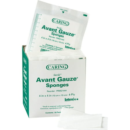 Medline, MIIPRM21444, Avant Sterile Gauze Sponges, 50 / Box, White