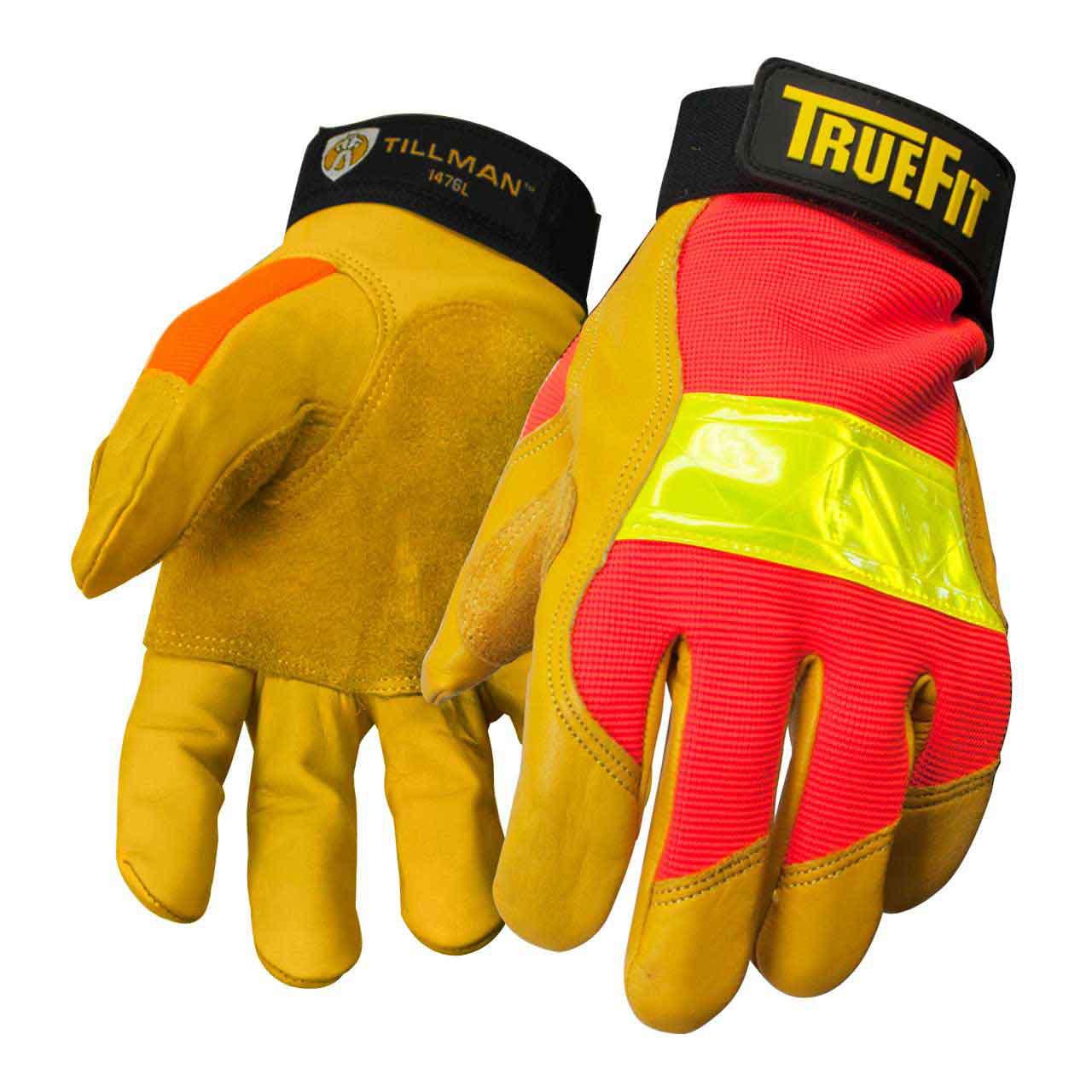 Tillman 1476 True Fit Hi-Vis Top Grain Cowhide Performance Work Gloves, Medium