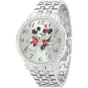 Mickey and Minnie Mouse Women's Silver Alloy Watch With Glitz, Silver Alloy Bracelet