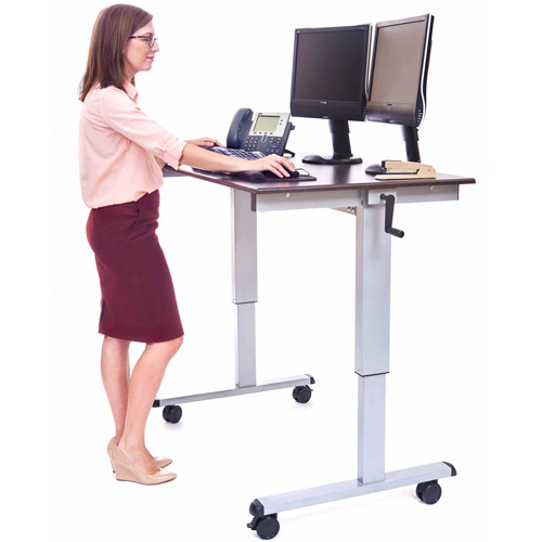 "Luxor 47-1/4""W Crank Adjustable Stand Up Desk, Dark Walnut"