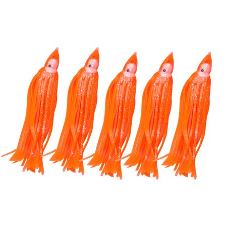 Unique Bargains 5 Pcs 4.3   Luminous Squid Jig Saltwater Silicone Orange Red Fishing Lure Fish Bait 0.6oz