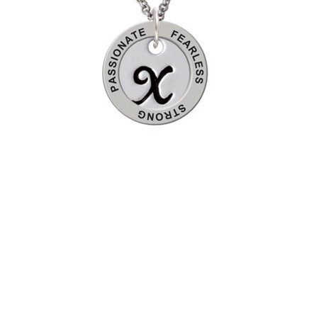 Large Script Letter   X   3 4 Disc   Passionate Fearless Strong Affirmation Ring Necklace