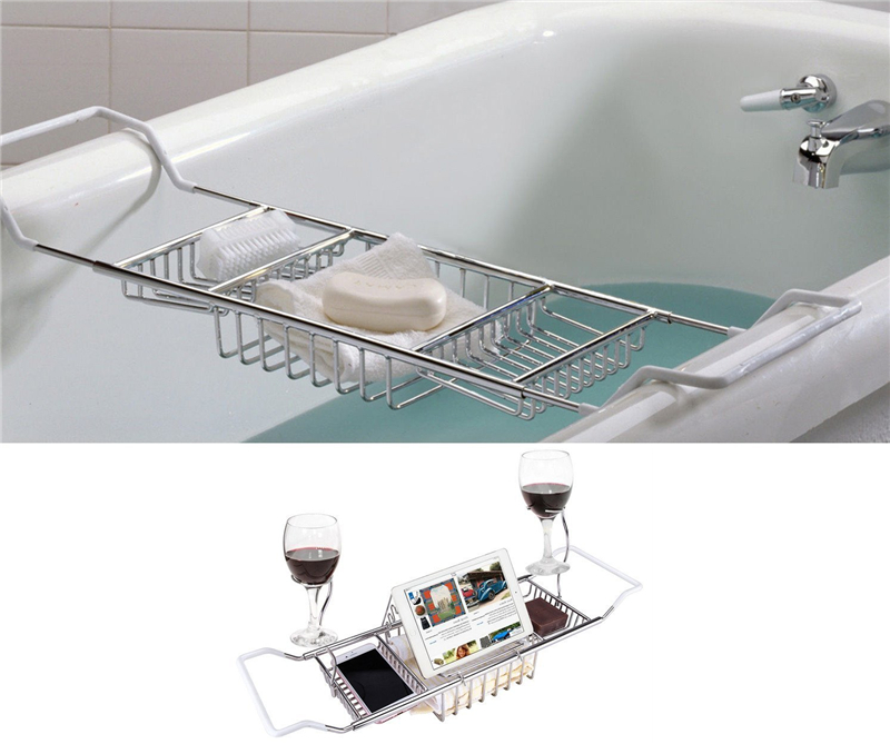 Bathtub Caddy Tray,Rustproof Metal Extendable Bathtub Caddy Tray Tub With  Extending Sides And Book
