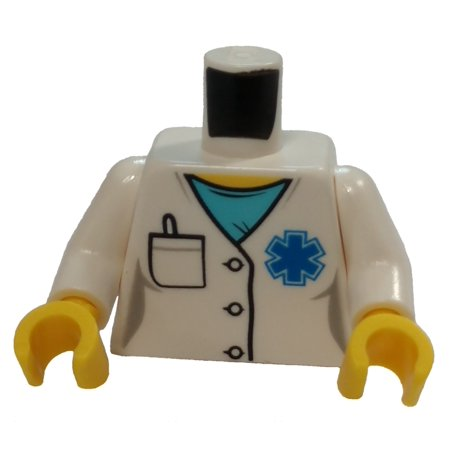 - LEGO Hospital Lab Coat, Medium Azure Scrubs, Blue EMT Star of Life Loose Torso