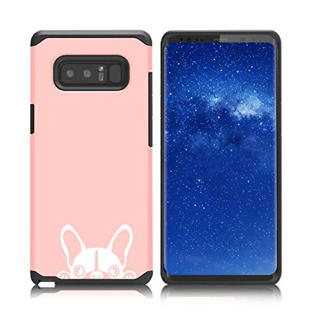 - For Samsung Galaxy (Note 8) Shockproof Impact Hard Soft Case Cover Peeking French Bulldog Frenchie Face (Rose Gold)