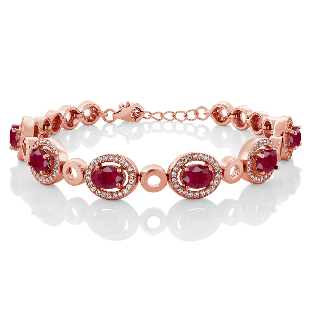 8.04 Ct Oval Red Ruby 18K Rose Gold Plated Silver Bracelet by