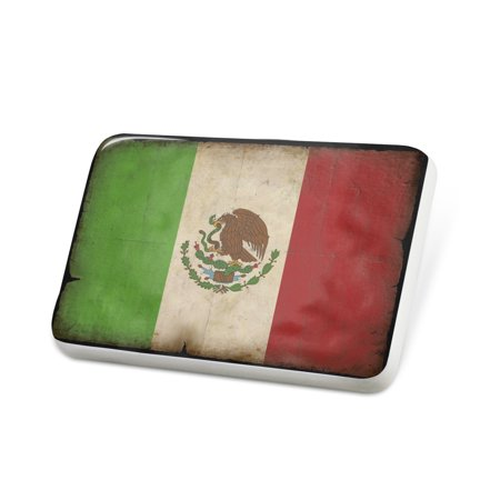 Porcelein Pin Mexican Flag with a vintage look Lapel Badge – NEONBLOND