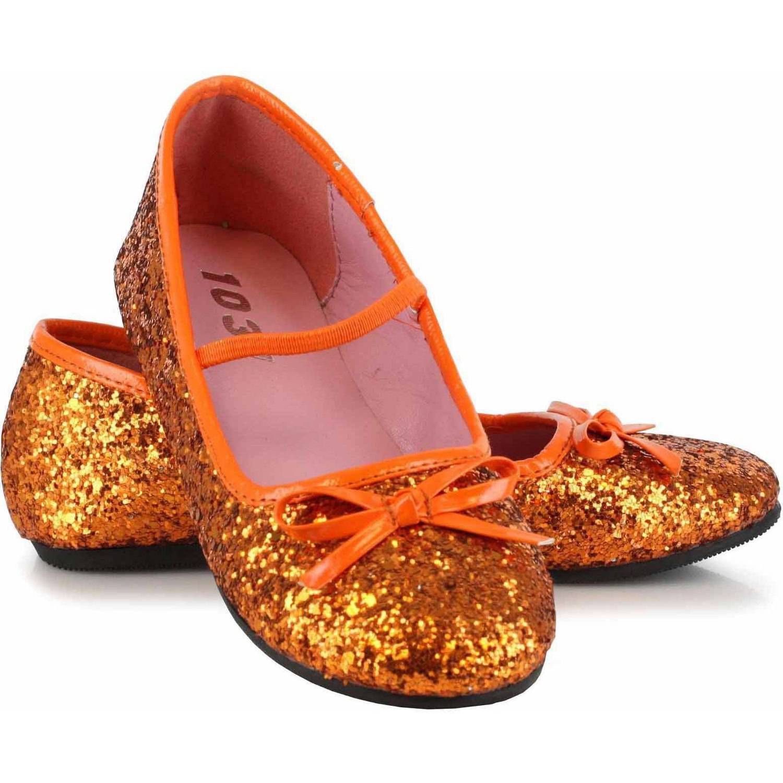 Orange Sparkle Ballet Flat Shoes Girls