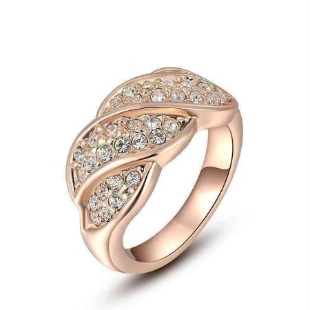 French Twist Pav Crystal Ring in 18k Rose Gold or White Gold 8 / 18K Rose Gold (Gold Twist Ring)
