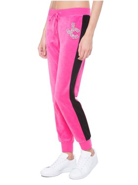 JUICY COUTURE BLACK LABEL Women's Velour Gems Zuma Pant, Couture Pink