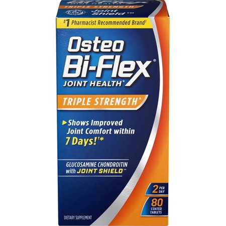 Osteo Bi-Flex Triple Strength Coated Tablets (Pack of 80), Joint Health Supplements with Glucosamine & Vitamin C, Gluten Free (Coated Carbon)