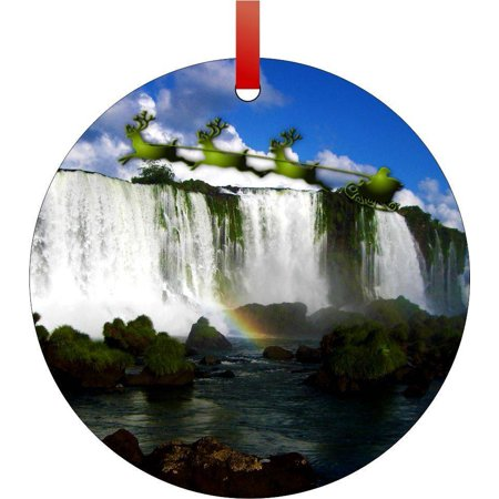 Santa and Sleigh Riding Over the Iguazu Falls, Brazil Flat Round - Shaped Christmas Holiday Hanging Tree Ornament Disc Made in the U.S.A.](Fall Tree)