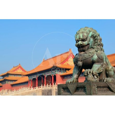 Lion Statue and Historical Architecture in Forbidden City in Beijing, China. Print Wall Art By Songquan Deng ()